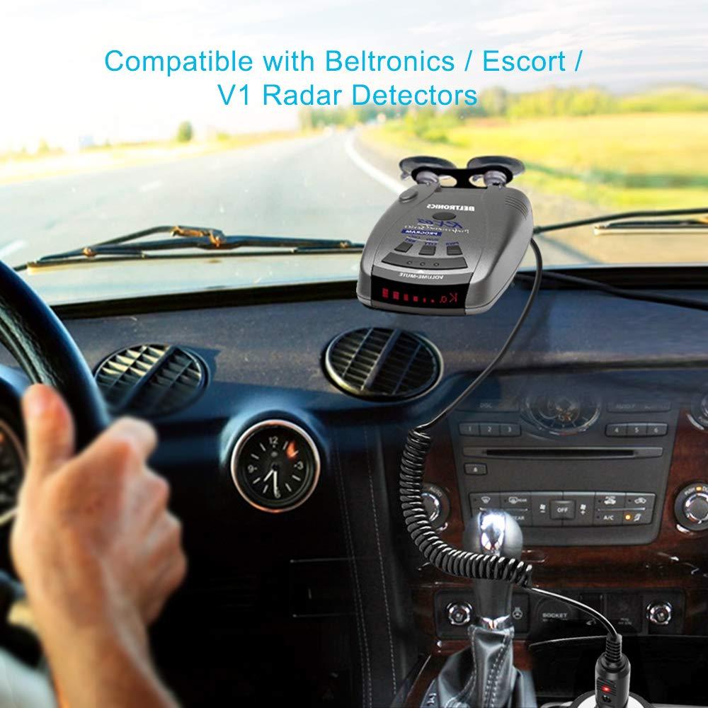 Ingers 12V Radar Detectors Coiled Car Charger for Beltronics//Escort//Valentine One V1 Vehicle Lighter Adapter 10Ft Power Cord