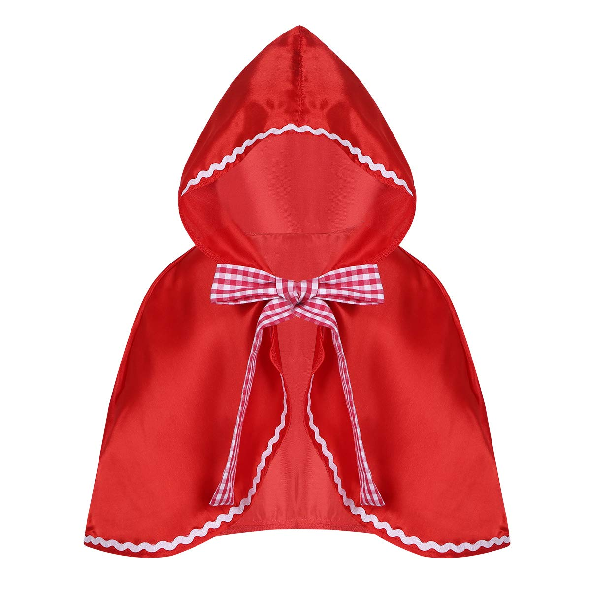 dPois Toddler Kids Girls' Little Red Riding Hood Cloak Cape Halloween Cosplay Party Fancy Dress Up Red S-M