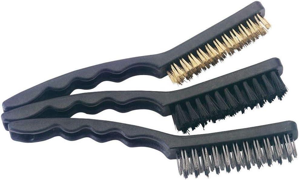 230 mm Juego de 3 cepillos de alambre de acero inoxidable para eliminaci/ón de /óxido lat/ón y nailon