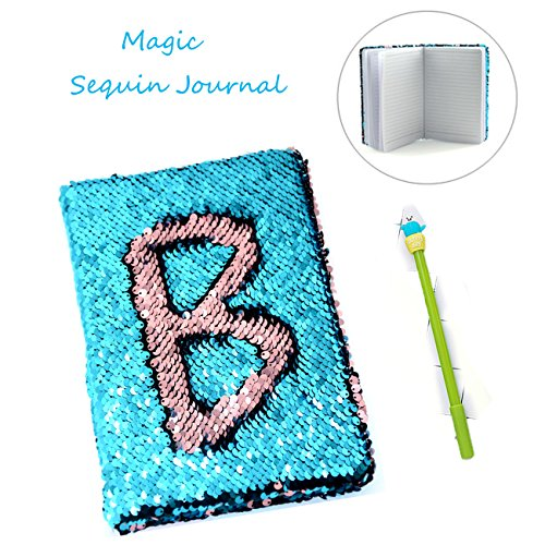 Sequin Notebook - 2 Color Mermaid Reversible Sequin Journal - Magic Travel Journal Notebook Gift for Adults and Kids (Pink-Blue)
