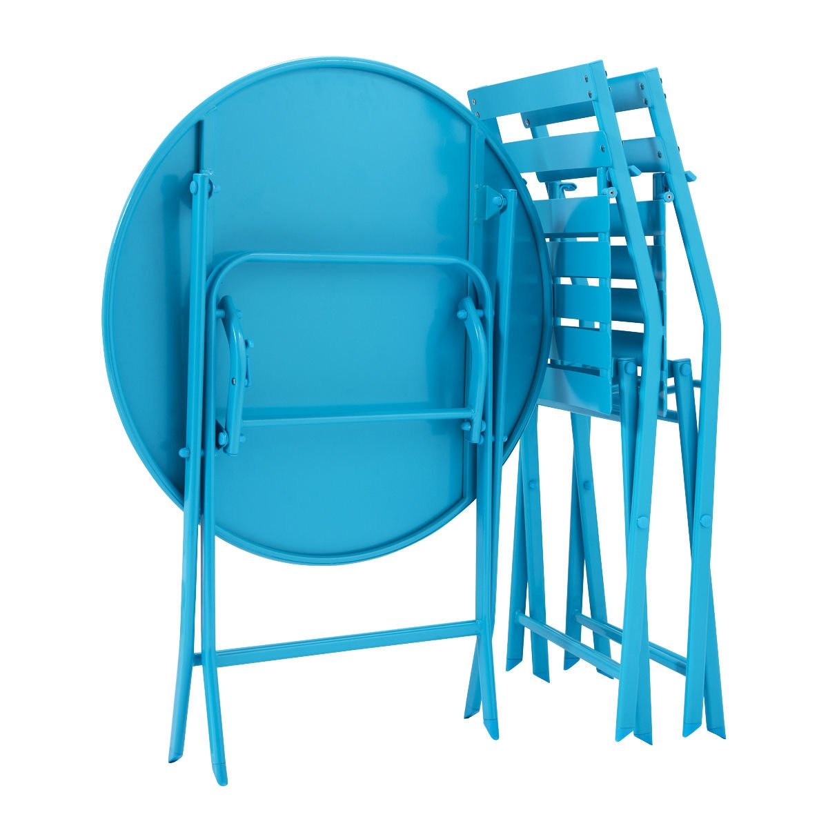 3 Pcs. Blue Table Chair Set Foldable Outdoor Patio Garden Pool Metal Furniture by Allblessings (Image #5)
