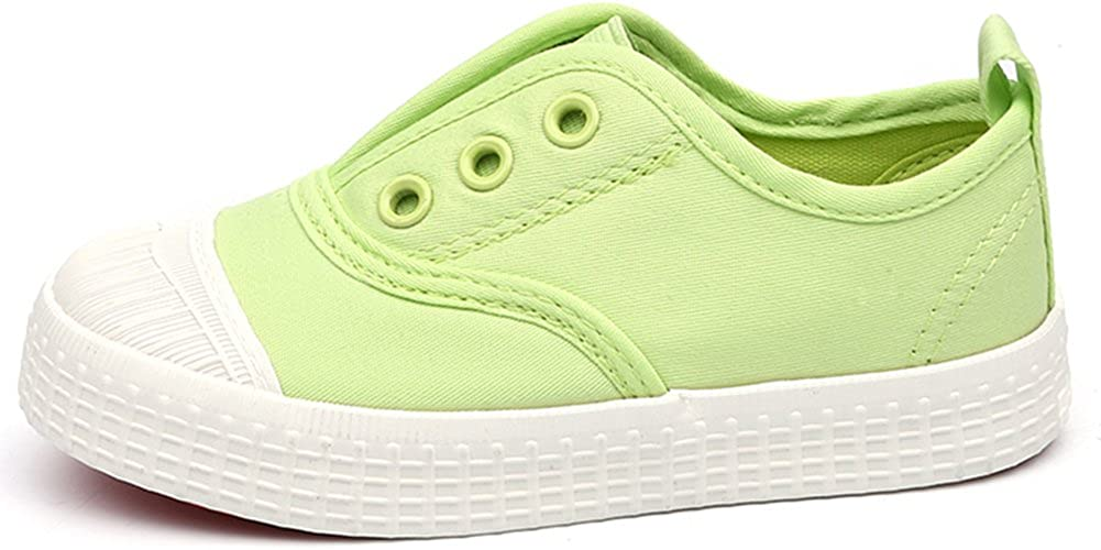 IDIFU Boys Girls Pretty Canvas Shoes Slip On Sneakers Breathable Loafers Light Green 11.5 M US Little Kid