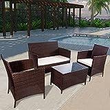 Merax Patio Furniture Set 4 PCS Outdoor Garden Rattan Wicker Sofa (Brown)