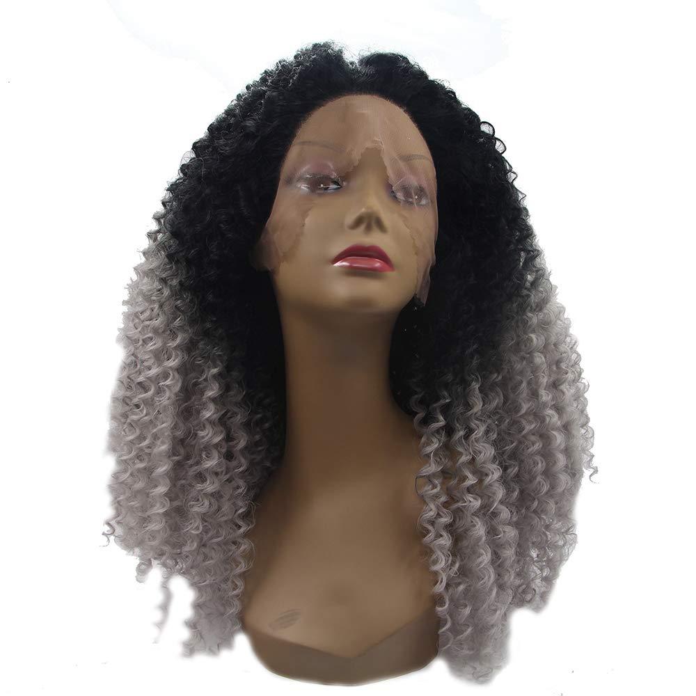 Full curl parrucca, pizzo anteriore breve ondulato stratificato, resistente al calore delle donne grigio scuro gradiente pieno merletto parrucca naturale Hairline baby hair Cosplay, Halloween