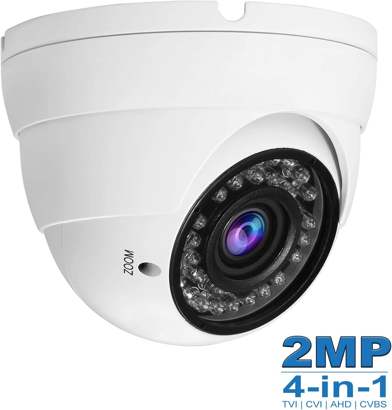 R-Tech 2MP 1080p 2.8-12mm 4-in-1 AHD//CVI//TVI//Analog Security Camera with SMD IR