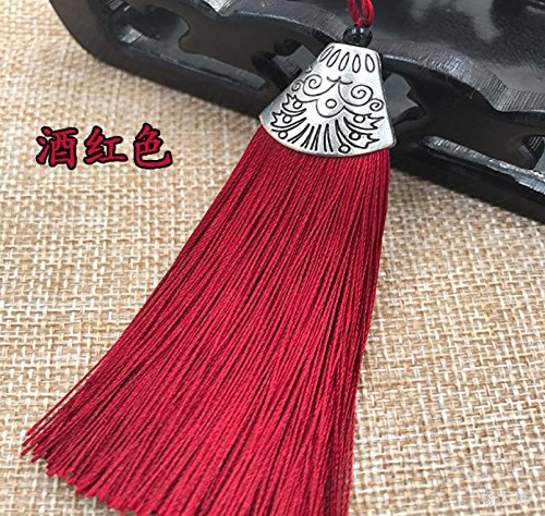 Babycola's Mum 10pcs Silky Handmade (2.4'') Soft Fiber Tassels with Antique Silver Cap(Wine)