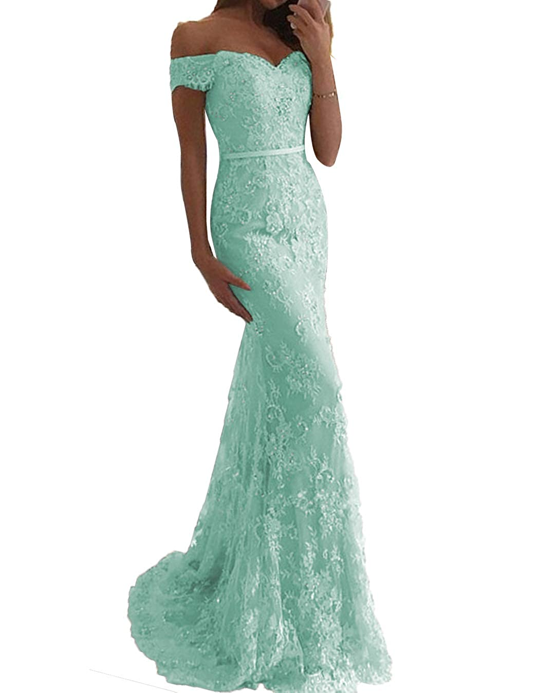 5b0adb90d49e SDRESS Crystals Lace Appliques Cap Sleeve Off Shoulder Mermaid Prom Party  Dress at Amazon Women's Clothing store: