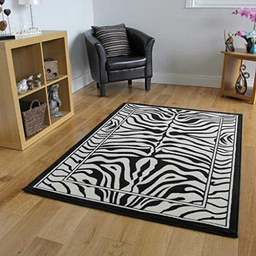 Safari Animal Black White Zebra Stripe Print Area Rug 5'3″ x 7'6″