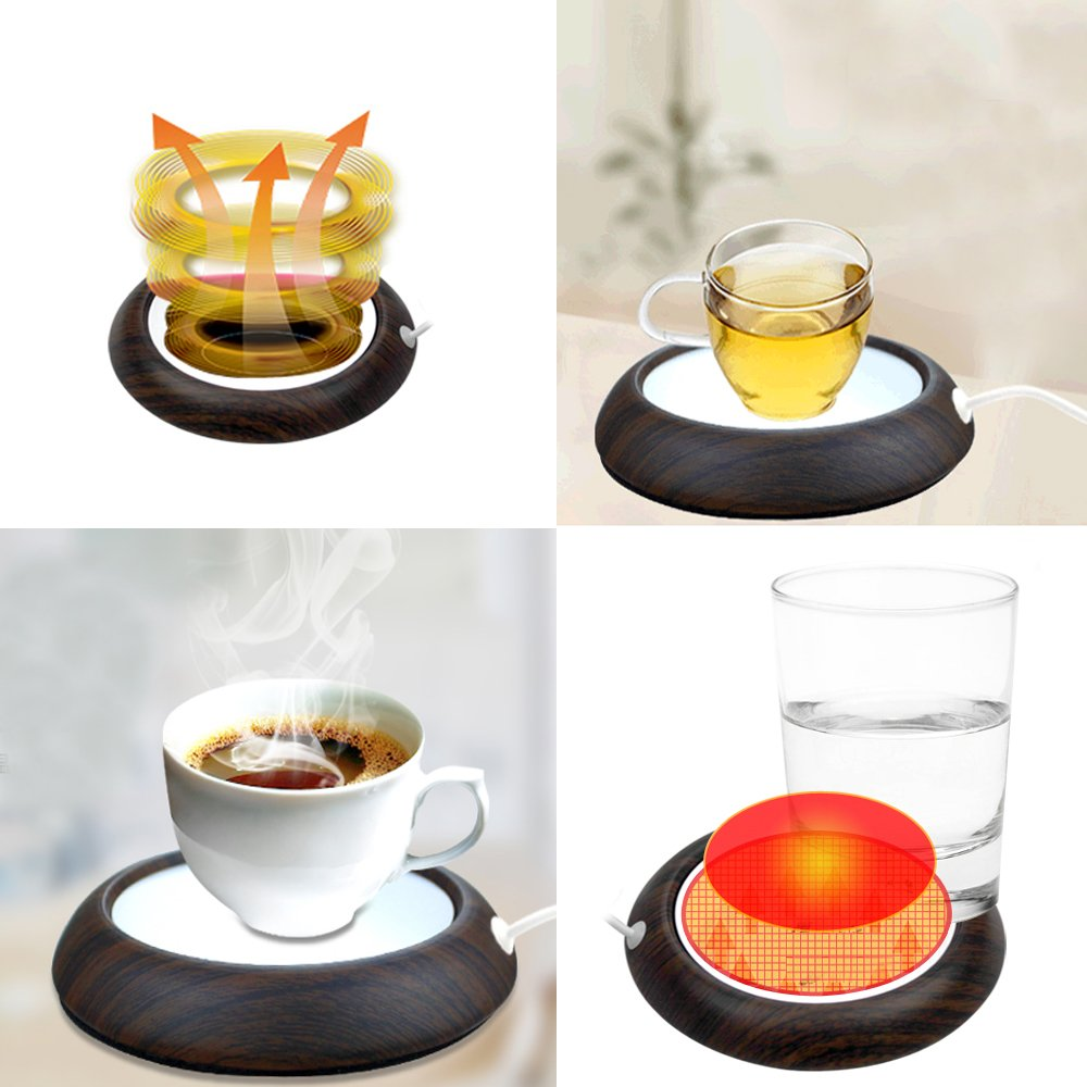 Cup Warmer, USB Coffee Mug Electric Heater Plate, Desktop Keep Warm Beverage & Tea Shaker, Waterproof Glass Panel Heated with 35.5 Inches Long USB Great for Office & Home kangbaobei 10000003