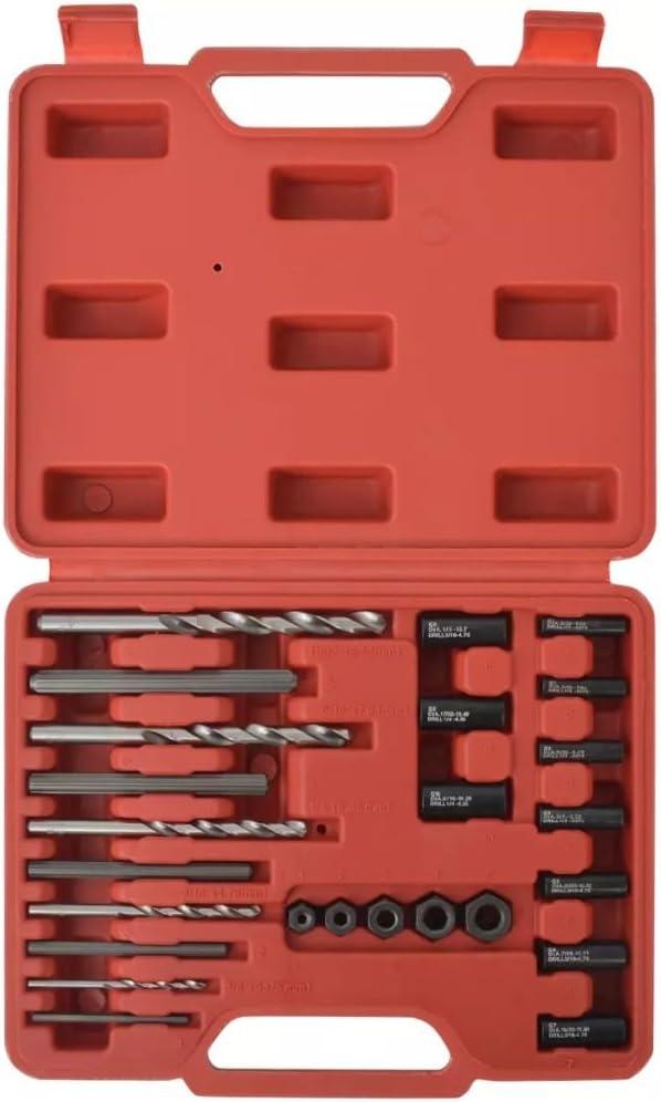 vidaXL Juego de 25 piezas de Extractores de Tornillos Acero Kit de Tiradores