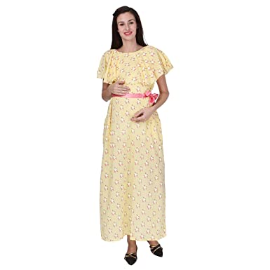 034c4d72f7a10 VIXENWRAP Blonde Yellow Cotton Floral Print Maternity Gown: Amazon ...