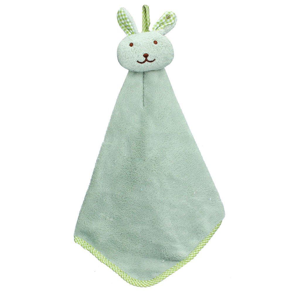Hattfart Hanging Towel Washcloth Cartoon Cute Animal Kids Microfiber Hanging Hand Towels Absorbent Towel for Kitchen (Green)