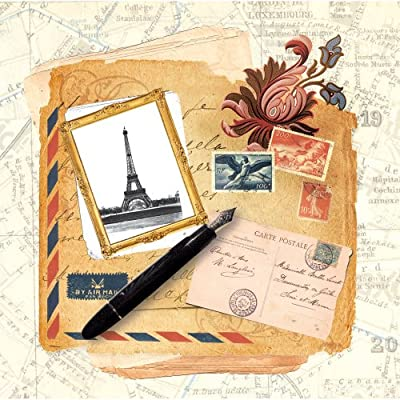 Dove of the East 25-Sheet Letters From Paris Paper for Scrapbooking, Paris Vintage, 12 by 12-Inch