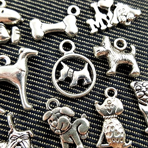 10pc Mixed Tibetan Silver Plated Animals Dogs Charms Pendants Jewelry Making DIY Charm Handmade Crafts (NS545 (Wholesale Dog Charms)