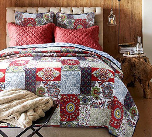 Cozy Line Home Fashions Reversible Bohemian Patchwork Vintage Quilt Bedding Set Full/Queen, Burgundy Red Bedspread