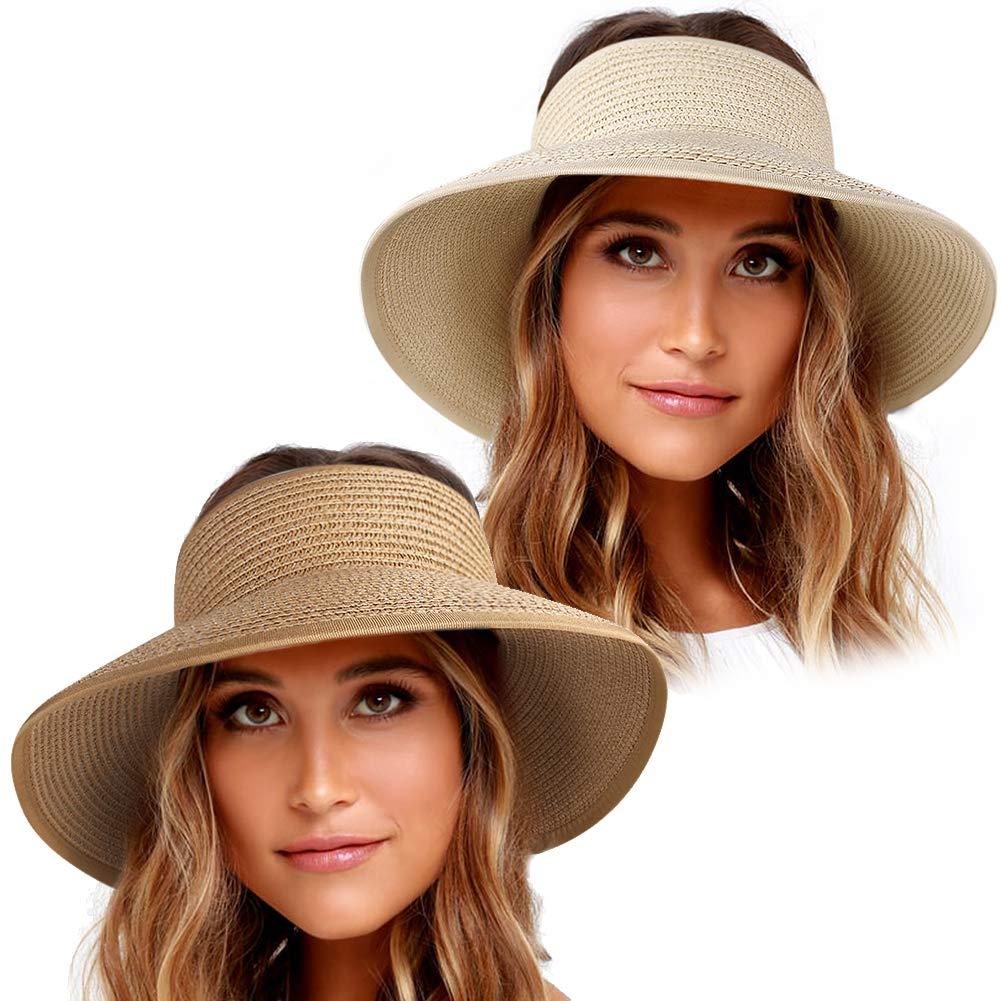 Sun Visor Hats for Women Wide Brim Straw Roll Up Ponytail Summer Beach Hat UV UPF 50 Packable Foldable Travel FURTALK (One Size, Y-beige khaki) by FURTALK