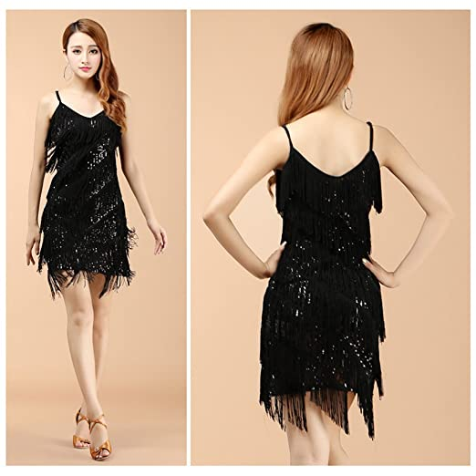 f8c61b6a330 Amazon.com  BOZEVON Womens Sleeveless Latin Dress Fringed Sequins Tassel  Ballroom Salsa Tango Skirt Dance Costume