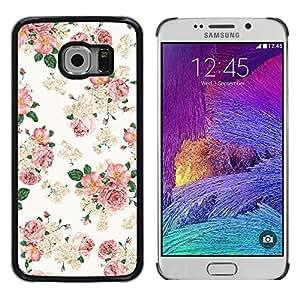 KOKO CASE / Samsung Galaxy S6 EDGE SM-G925 / fondo de pantalla de color rosa floral retro blanco estilo vintage / Delgado Negro Plástico caso cubierta Shell Armor Funda Case Cover