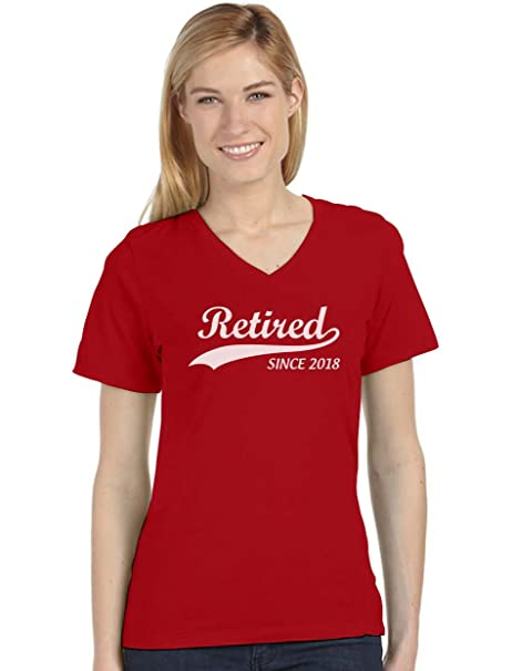 TeeStars - Retired Since 2018 - Retirement Gift Idea V-Neck Fitted Women T- Shirt  Amazon.ca  Clothing   Accessories 764c6ed09