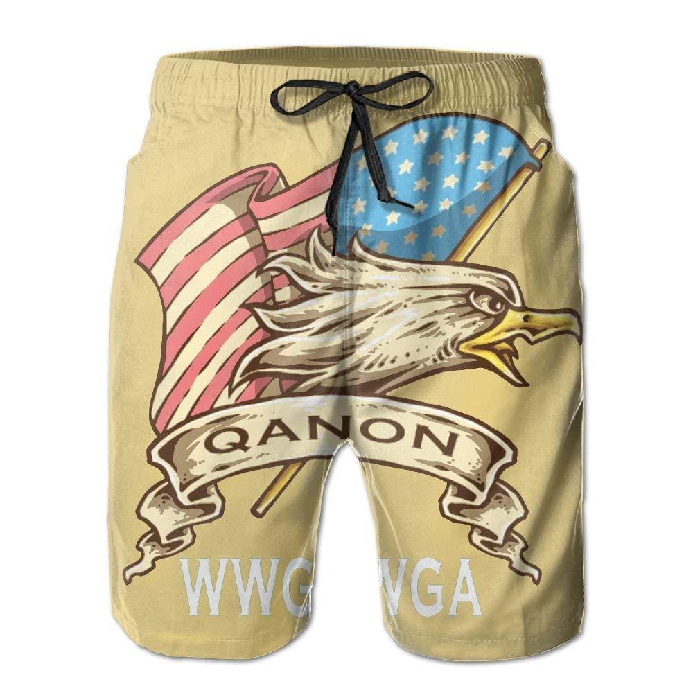 DDYJ QAnon American Flag Boardshorts Mens Swimtrunks Fashion Beach Shorts Casual Shorts Swim Trunks