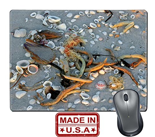 "Liili Natural Rubber Mouse Pad/Mat with Stitched Edges 9.8"" x 7.9"" IMAGE ID: 7114720 seashells on sandy beach at sunset Sanibel Florida"