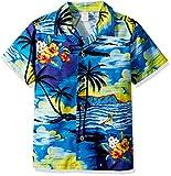 Palm Wave Men's Hawaiian Shirt Aloha Shirt L Sunset Blue