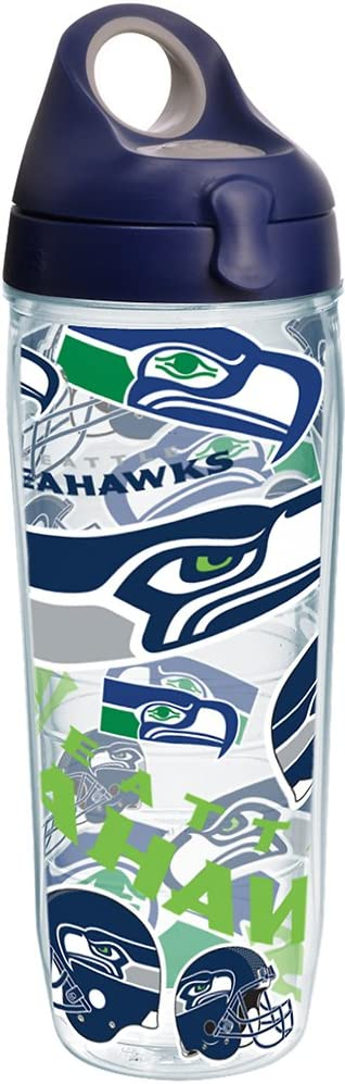 Tervis NFL Seattle Seahawks All Over Tumbler with Wrap and Navy with Gray Lid 24oz Water Bottle, Clear
