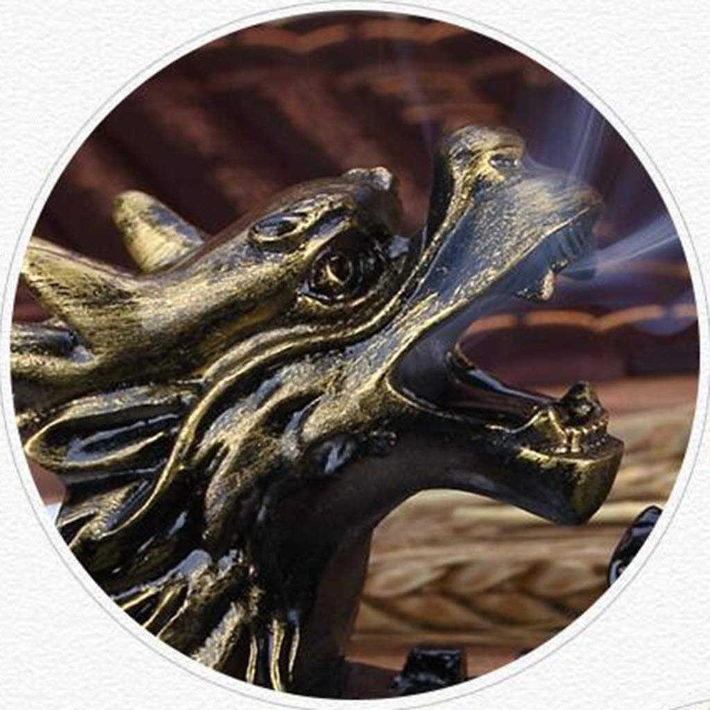 12LYN Dragon Decoration Jewelry Chinese Gold Personality Large Vintage Large Household 18cm Ashtray Gift Color : GOLD, Size : 18 * 18 * 9CM