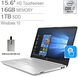 "2020 HP Pavilion 15.6"" HD Touchscreen Laptop Computer, Intel Core i7-1065G7, 16GB RAM, 1TB PCIe SSD, Backlit Keyboard, HD Audio, HD Webcam, Intel Iris Plus Graphics, Win 10, Silver, 32GB USB Card"