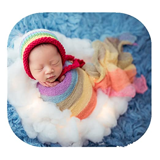 fd05819cfba7d Newborn Boy Girl Baby Photography Props Outfits Photo Shoot Rainbow Hat and  Long Ripple Wrap Set