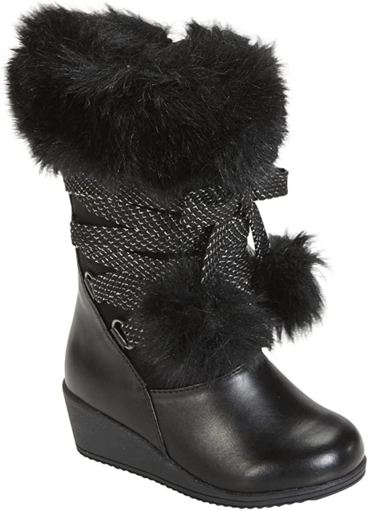 girls black fur boots