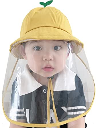 Face Shield Cotton Packable Sun Hats Dust Proof Packable Sun Hats Shield for Dust, Outdoors, Sports, Protection Sun Hat Suitable for Baby (3-18 Months) Yellow