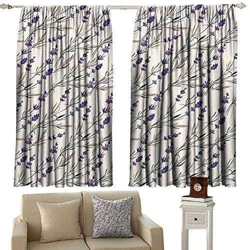 (Window Curtain Drape Purple Decor Collection,Lavender Paint Style Pattern French Fragrance Organic Herb Theme Country Cottage Print,Violet Beige 84