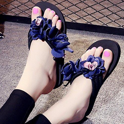 para Chanclas desgaste Pendiente 3cm Flores antideslizante exterior grueso AWXJX Blue inferior mujer seaside A5Sdd