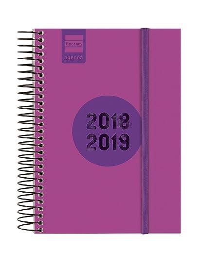 Finocam Espir Label - Agenda 2018-2019 1 día página catalán, 120 x 171 mm, rosa