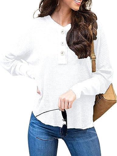 Hemlock suéter de manga larga para mujer, con botones, cuello ...