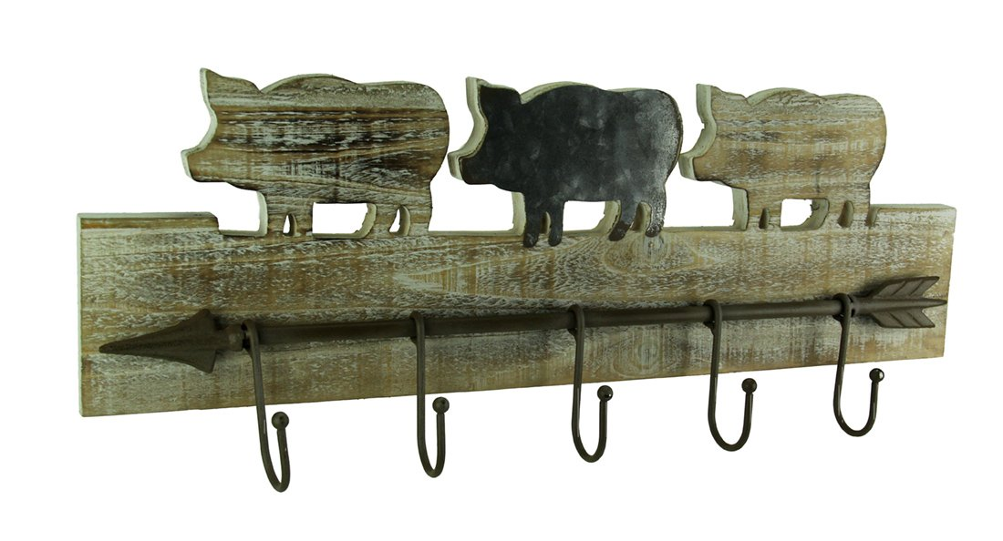 Premier Home Imports Wood & Metal Decorative Wall Hooks Rustic Wood Farmhouse Decorative Metal Arrow Wall Hook 23.5 X 9 X 3.25 Inches Brown