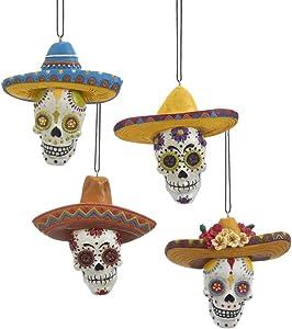 Kurt Adler Set of 4 Day of The Dead Skull Ornaments
