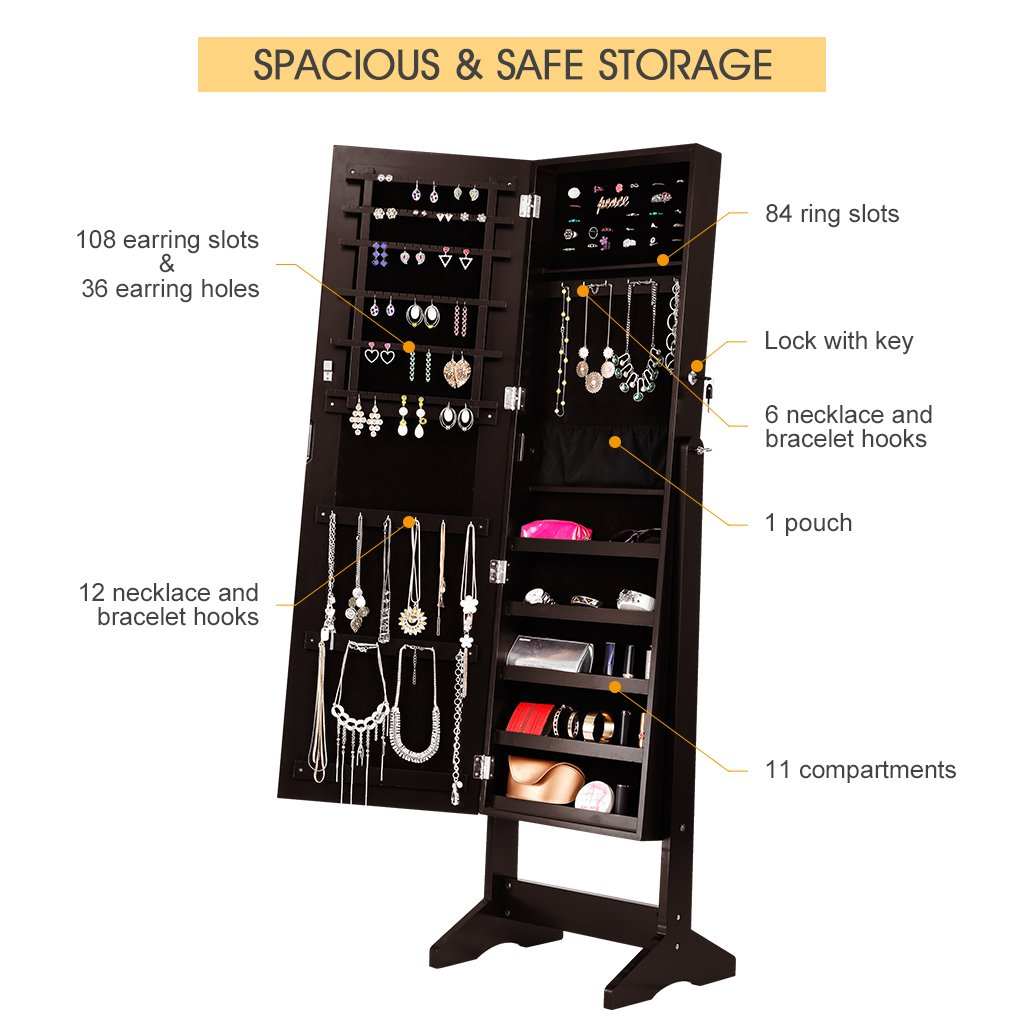 LANGRIA Lockable Jewelry Cabinet Jewelry Armoire with Mirror Jewelry Holder Organizer Storage, 4 Angle Adjustable, Brown by LANGRIA (Image #4)
