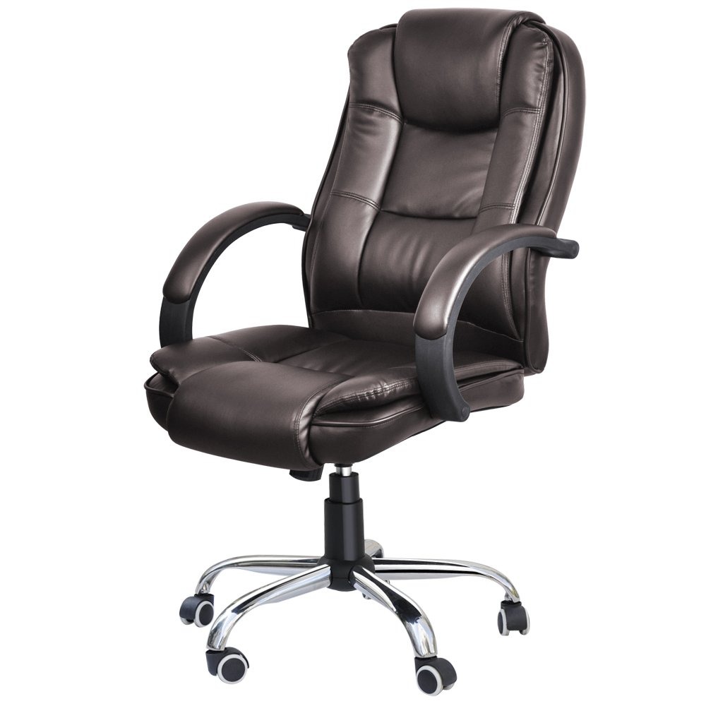 Amazon.com: Yaheetech Executive Office Chair With PU Leather Back Support  High Back (Brown): Kitchen U0026 Dining