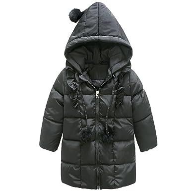 AnKoee Mignon Bébé Fille Manteau Veste Chaud Hiver Cape Blousons Vêtements  Chauds Enfants (Noir, 4e91cf33ba4b