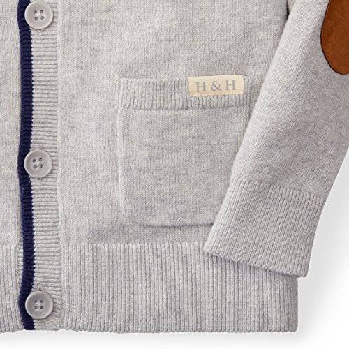Hope & Henry Boys' Grey Cardigan Sweater Made with Organic Cotton by Hope & Henry (Image #2)