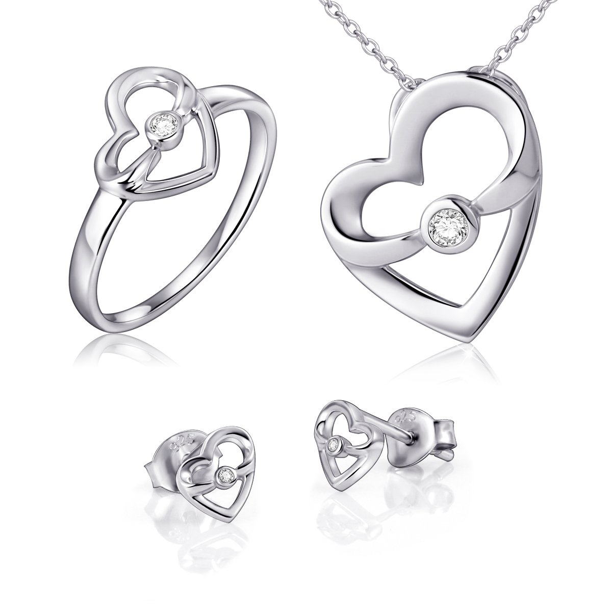 925 Sterling Silver Mother Child Love Heart Jewelry Set, Ring, Stud Earrings and Pedant Necklace for Mom
