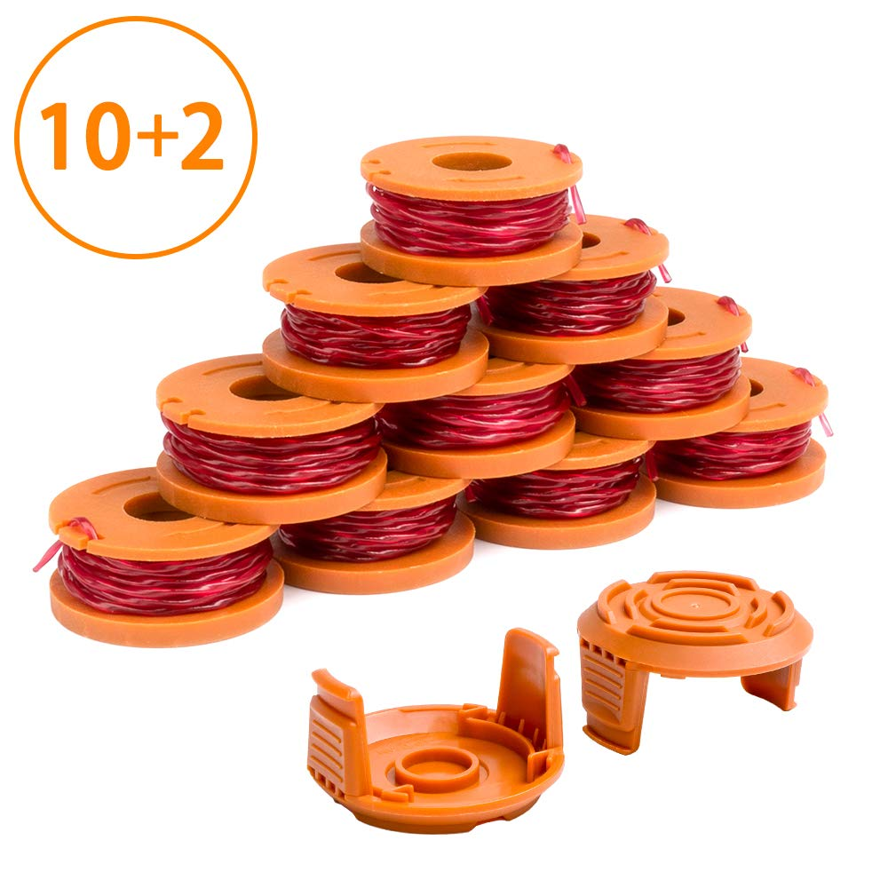 "X Home Edger Spool Cap Compatible with Worx WA0010 WG180 WG163 Weed Wacker Spool with WA6531 GT Spool Cover 50006531 String Trimmer Refills 10ft 0.065"" 12 Pack (10 Replacement Spools, 2 Trimmer Cap)"