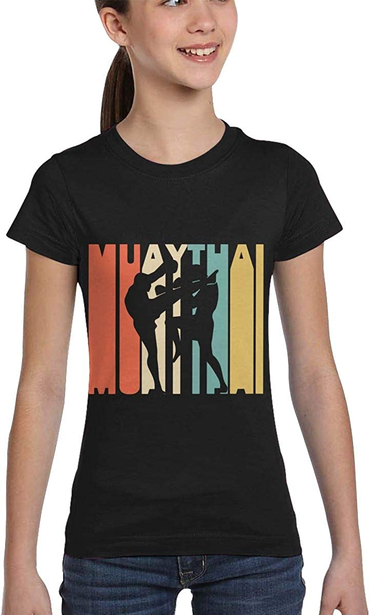 XS-XL Fashion Blouse Clothes Girls Short Sleeve Retro Style Muay Thai Silhouette T-Shirts