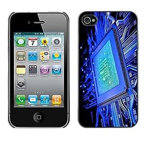 Be Good Phone Accessory // Dura Cáscara cubierta Protectora Caso Carcasa Funda de Protección para Apple Iphone 4 / 4S // Computer Chip Blue Code Technology It