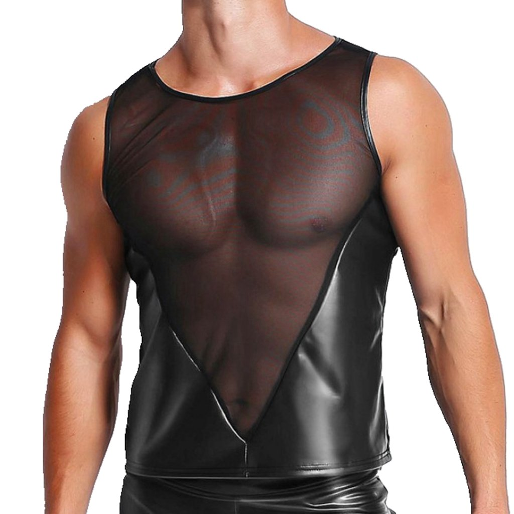 CHICTRY Men's Metallic Leather Look Underwear Mesh Splice T Shirt Vest Tank Tops