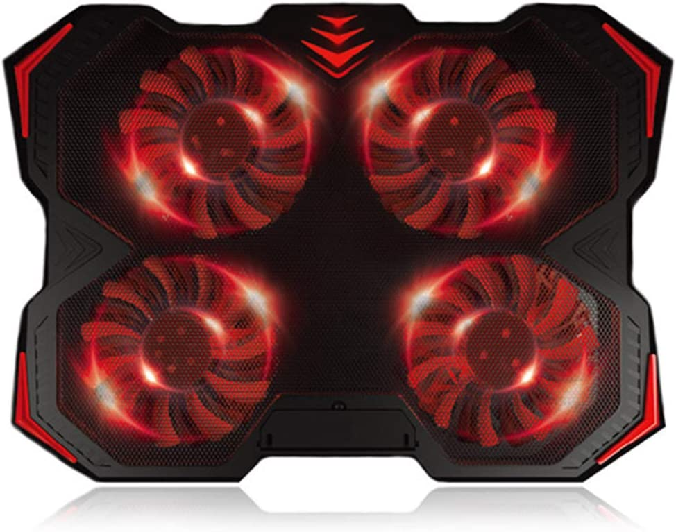 ILYO Portable Red Light Laptop Cooling Pad Dual USB Port Adjustable Bracket Height 4 Cooling Fans for 12-17 Computer