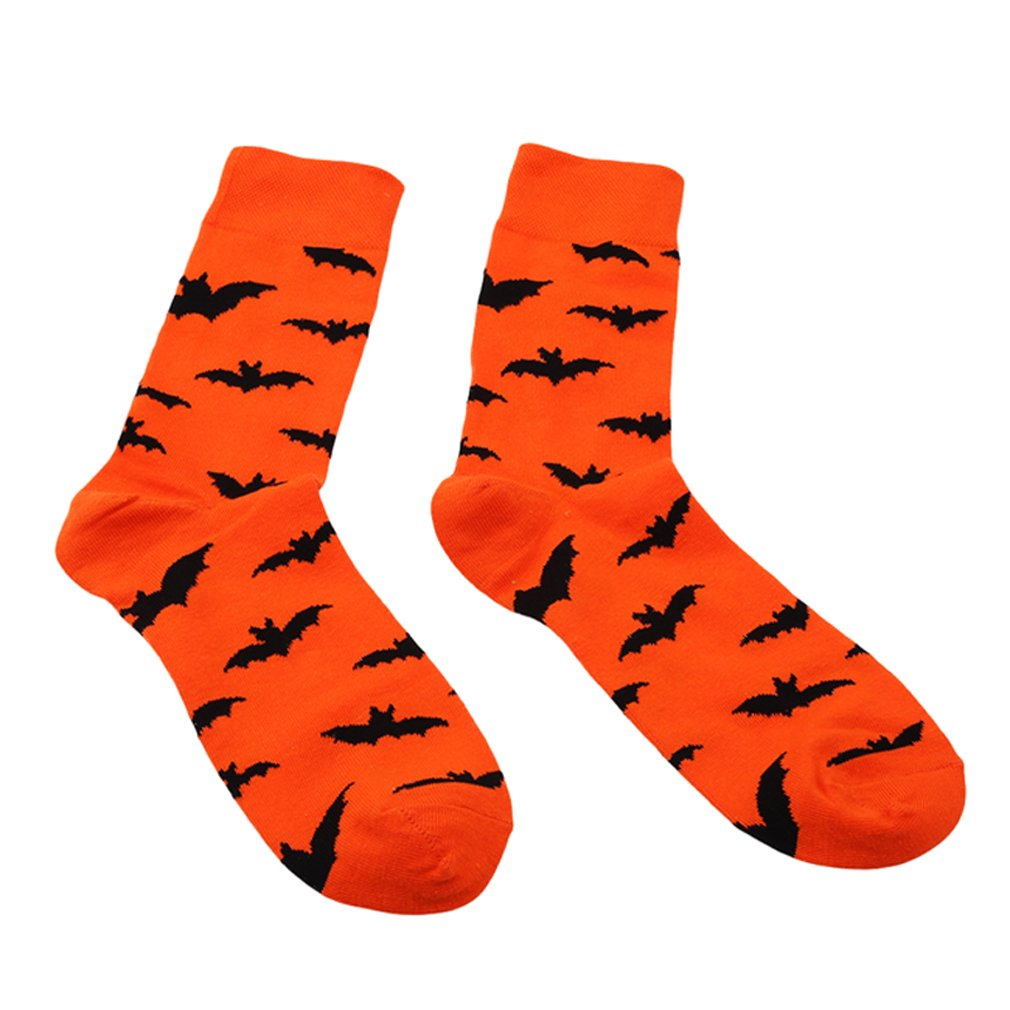 Eleusine 1pair Men and Women Novelty Halloween Pumpkins Bats Crew Length Casual Dress Socks