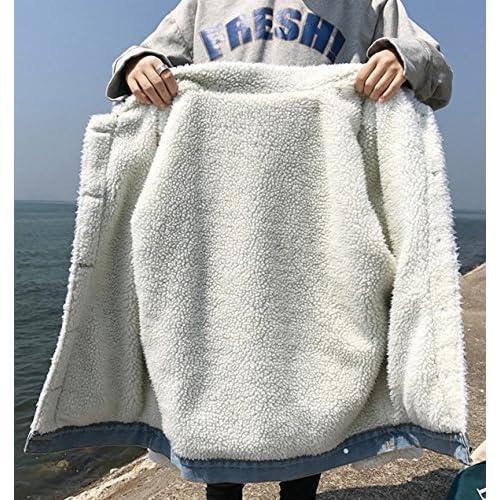 5a7e25f6e1f Gihuo Women s Winter Thicken Lamb Wool Denim Jacket Loose Jean Coat ...